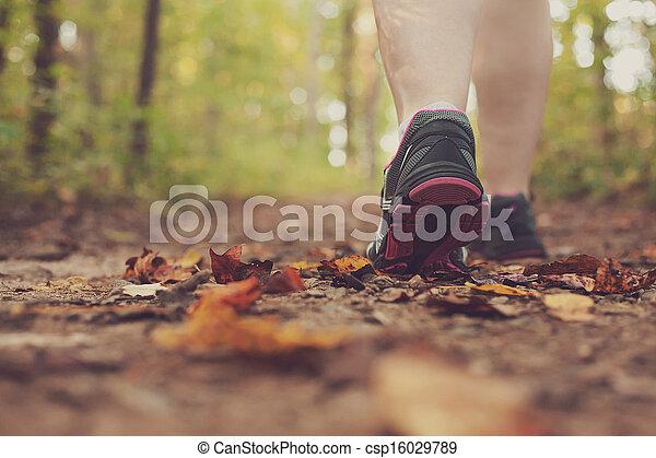 Woman walking through forest. - csp16029789
