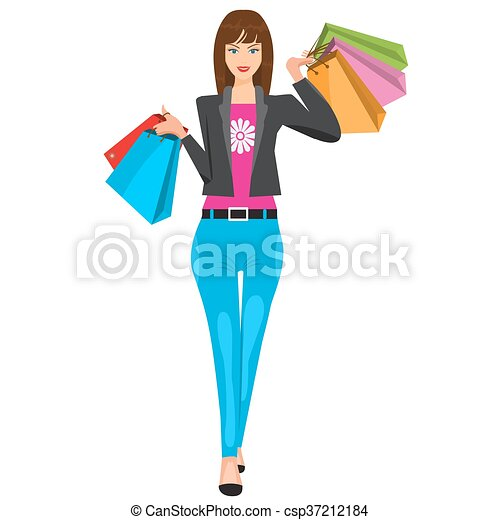 8a587b6a2 Woman walking with paper shopping bags. Illustrated vector flat colors -  csp37212184