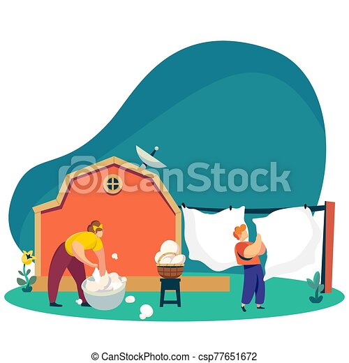 Woman washes laundry in backyard, countryside lifestyle, vector illustration - csp77651672
