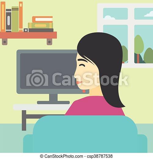 Woman watching TV. - csp38787538