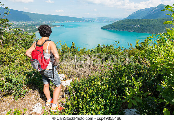 woman watching view of Lake Annecy - csp49855466
