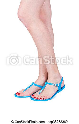 d96c0d65e Woman wearing flip flop - csp35783369