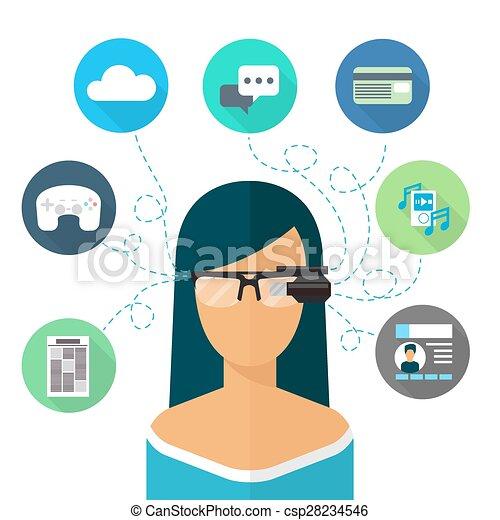 Woman wearing glasses augmented reality. flat icon. virtual internet, communication and music ...