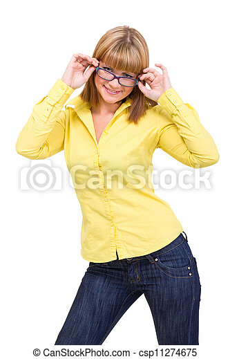 woman wearing glasses - csp11274675