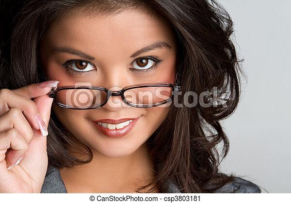 Woman Wearing Glasses - csp3803181