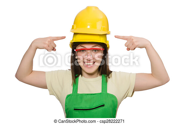 woman wearing hard hat isolated on white picture search photo