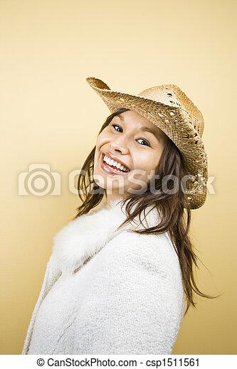 Woman wearing hat. - csp1511561