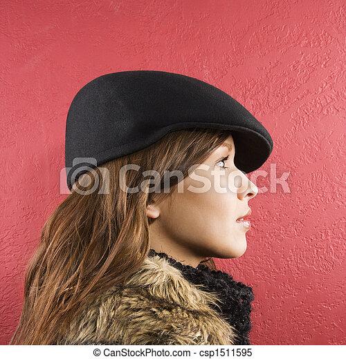 Woman wearing hat. - csp1511595