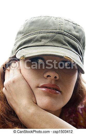 Woman wearing hat. - csp1503412