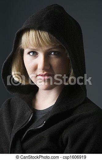 Woman wearing hoodie. - csp1606919