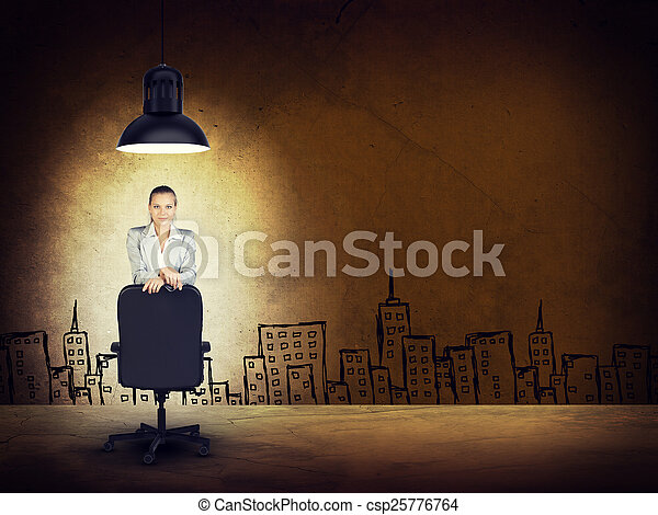 Woman wearing jacket, blouse leaning on chair. Background sketch of buildings - csp25776764