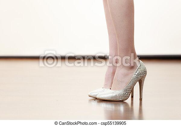 8b867704062 Woman wearing silver high heels. Unrecognizable woman wearing ...