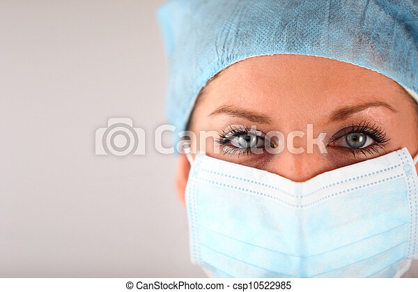 Woman wearing surgical mask - csp10522985