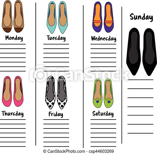 Woman weekly, daily planner template with fashionable shoes ...