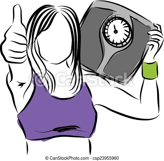 woman weight control success illust - csp23955960