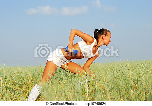 Woman Weight Training - csp10748624
