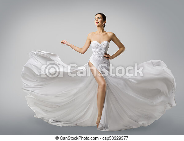 Woman white dress, fashion model bride in long silk wedding gown ...