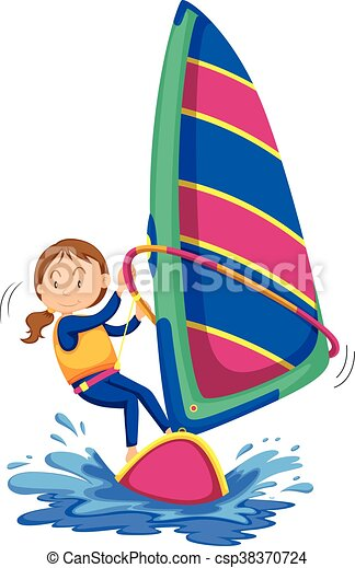 Woman Windsurfing In The Ocean