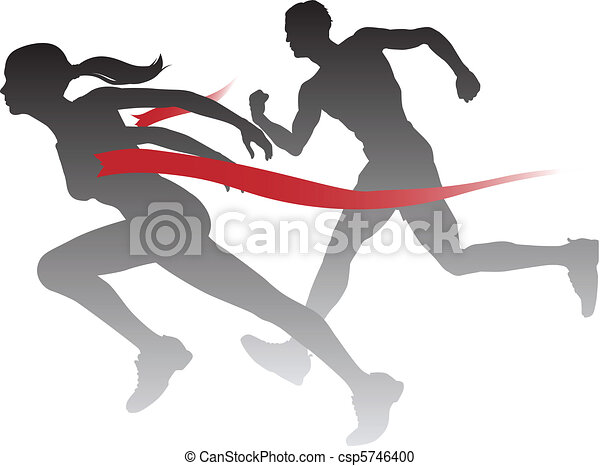 Woman winning a race - csp5746400