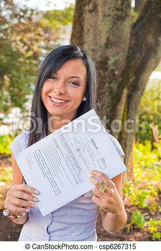 Woman with a ballot paper (Austria) - csp6267315