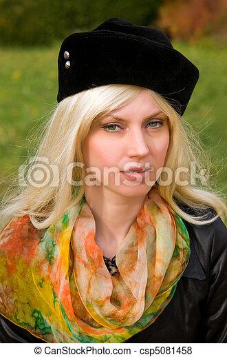 woman with a beautiful headdress - csp5081458