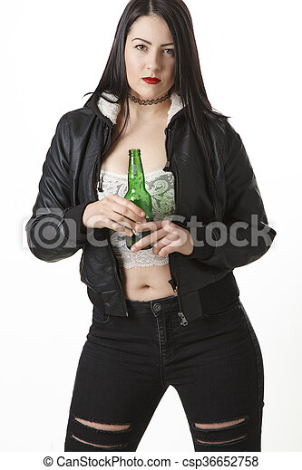 Woman with a beer - csp36652758