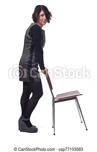 woman with a chair in white background - csp77103583