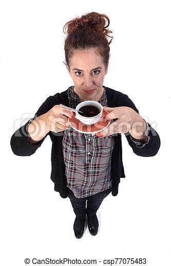 woman with a cup of coffee on white background - csp77075483