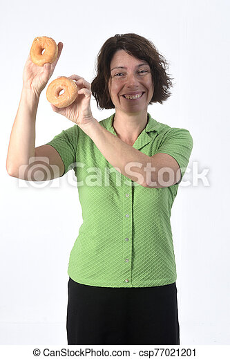 woman with a donut on white background - csp77021201
