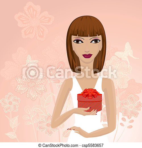 woman with a gift - csp5583657