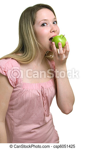 woman with a green apple - csp6051425