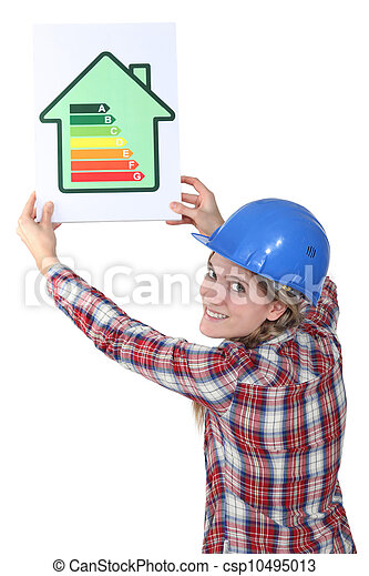 Woman with a house energy rating sign - csp10495013