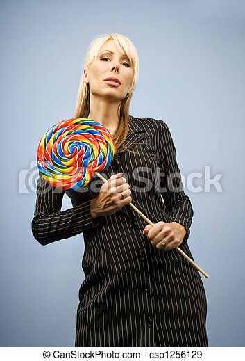 Woman with a lollipop - csp1256129