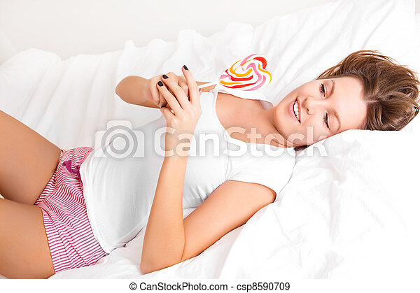 woman with a lollipop - csp8590709