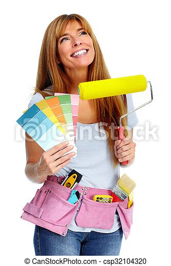 Woman with a painting roller. - csp32104320