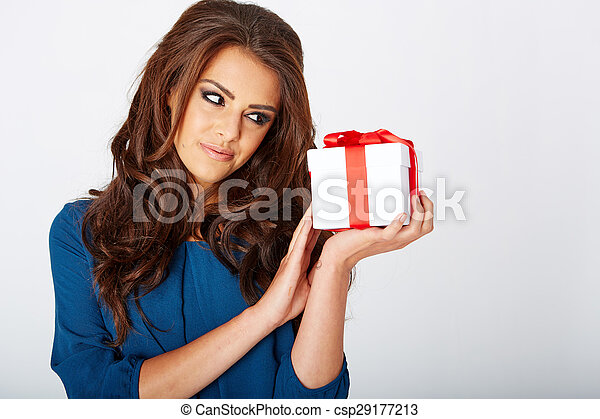 woman with a present - csp29177213