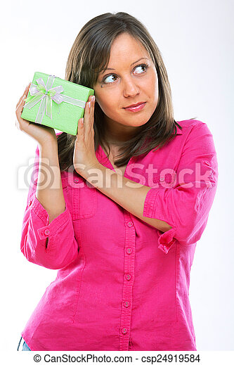 Woman with a present - csp24919584