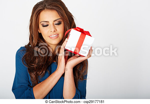 woman with a present - csp29177181
