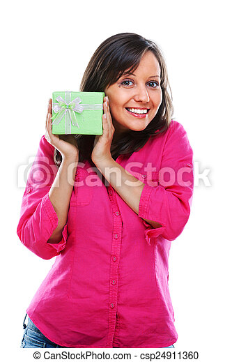 Woman with a present - csp24911360
