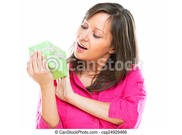 Woman with a present - csp24929466