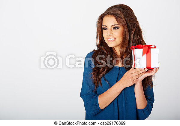 woman with a present - csp29176869