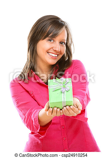 Woman with a present - csp24910254