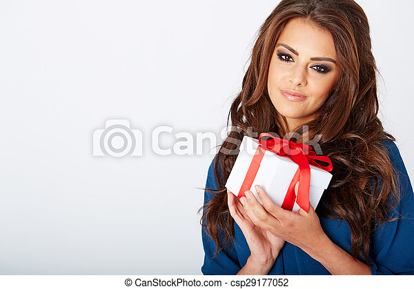 woman with a present - csp29177052