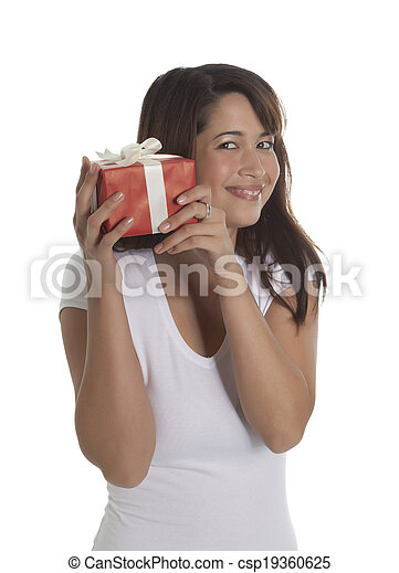 Woman with a present - csp19360625