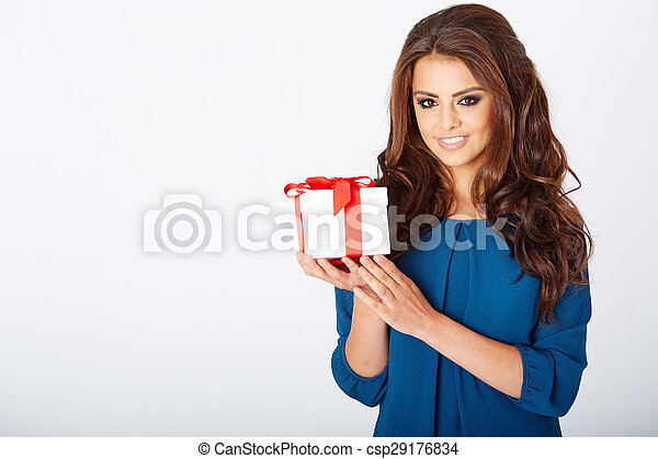 woman with a present - csp29176834