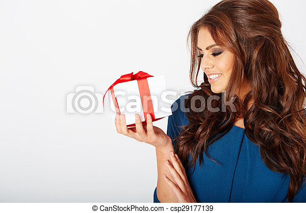 woman with a present - csp29177139