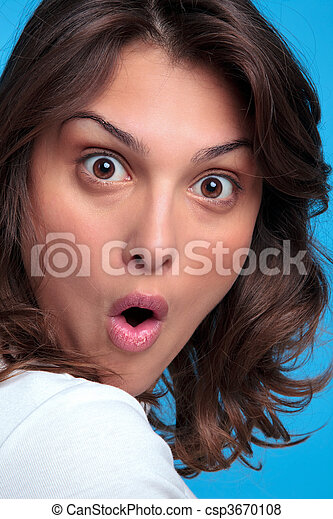 Woman with a shocked expression - csp3670108