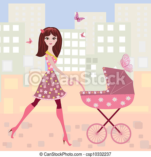woman with a stroller - csp10332237