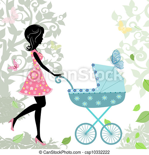 woman with a stroller - csp10332222