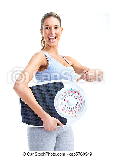 woman with a weight scale - csp5760349